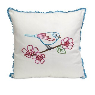 Clora Embroidered Bird Pillow 8-inch