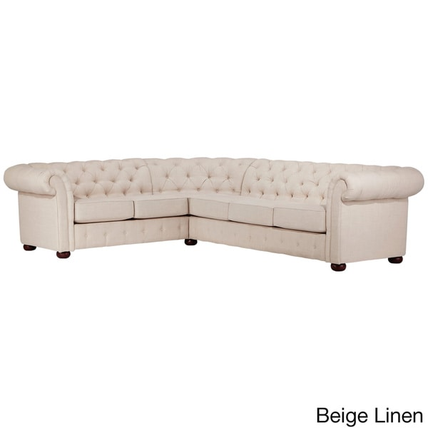 Knightsbridge Tufted Scroll Arm Chesterfield 6-seat L-shaped Sectional by iNSPIRE Q Artisan - Free Shipping Today - Overstock.com - 17632346  sc 1 st  Overstock.com : chesterfield leather sectional - Sectionals, Sofas & Couches