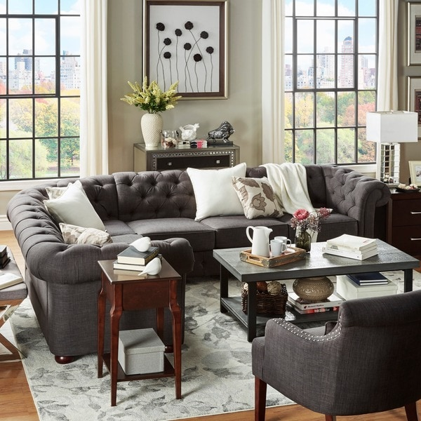u shaped sectional with large ottoman leather chaise tufted scroll arm chesterfield seat inspire artisan