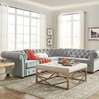 Knightsbridge Tufted Scroll Arm Chesterfield 6-seat L-shaped Sectional by iNSPIRE Q Artisan (4 options available)