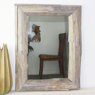 Handmade Agate Grey Oil Teak Branch 25x32 Framed Mirror (Thailand)