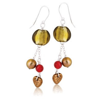 Sterling Silver Freshwater Pearl and Glass Bead Fall Dangle Earrings