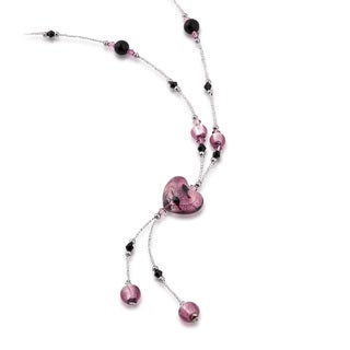 Sterling Silver Glass Bead Heart Lariat Necklace