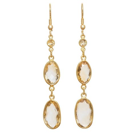 Handmade Faceted Citrine Gold Overlay Earrings (India) - Yellow