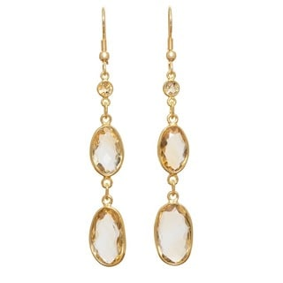 Handmade Faceted Citrine Gold Overlay Earrings (India)