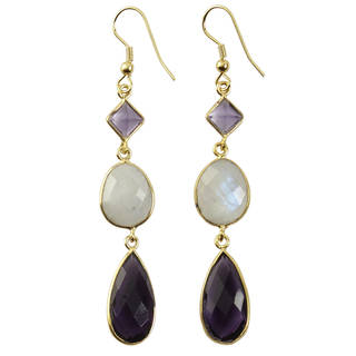 Goldplated Faceted Multi Gemstone Dangle Earrings (India)