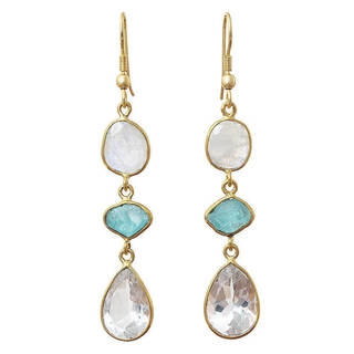 Link to Handmade Gold Overlay Crystal, Apatite and Moonstone Earrings (India) Similar Items in Earrings
