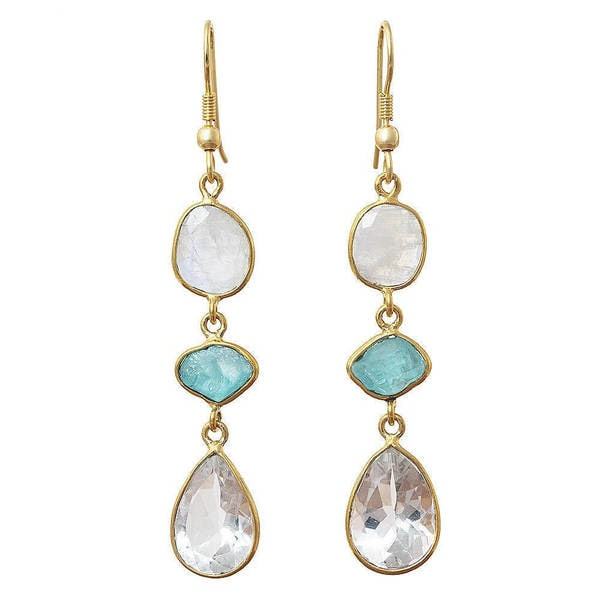 Handmade Gold Overlay Crystal, Apatite and Moonstone Earrings (India) - n/a