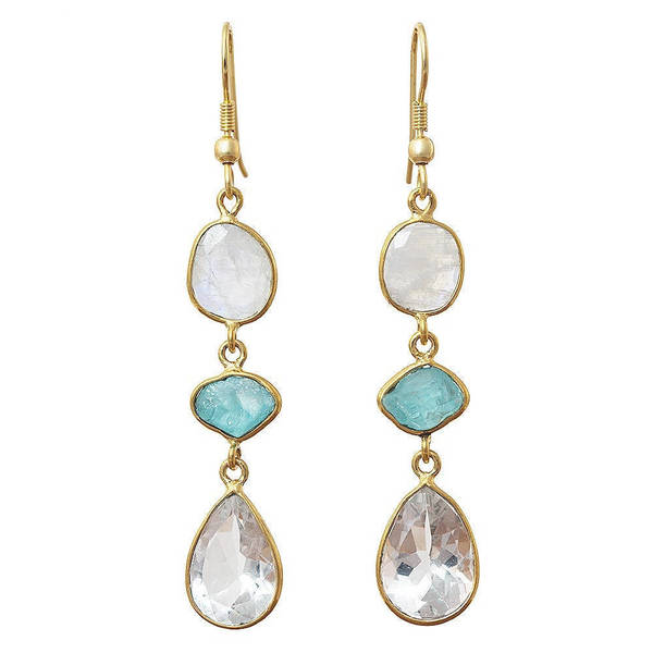 Handmade Gold Overlay Crystal, Apatite and Moonstone Earrings (India). Opens flyout.