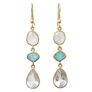 Handmade Gold Overlay Crystal, Apatite And Moonstone Earrings (India)|https://ak1.ostkcdn.com/images/products/10553698/P17632788.jpg?impolicy=medium