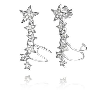 Pori Goldplated Sterling Silver Cubic Zirconia Graduated Stars Cuff Earrings