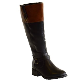 Boots by Pamela Women's Michelle Color Block Riding Wide Calf Boots