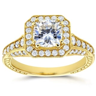 Annello by Kobelli 14k Yellow Gold 1 3/4ct TGW Cushion Moissanite and Profile-set Diamonds Statement Engagement Ring