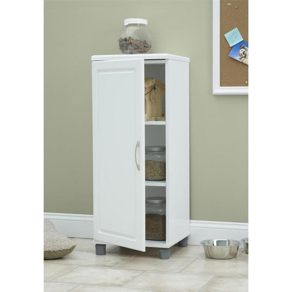 SystemBuild White Kendall 16-inch Stackable Storage Cabinet. Opens flyout.