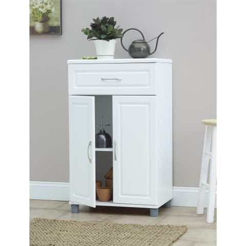 SystemBuild White Kendall 24-inch 1-drawer, 2-door Base Storage Cabinet