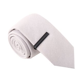 Skinny Tie Madness Men's Dynamite Debra Grey Skinny Tie with Tie Clip