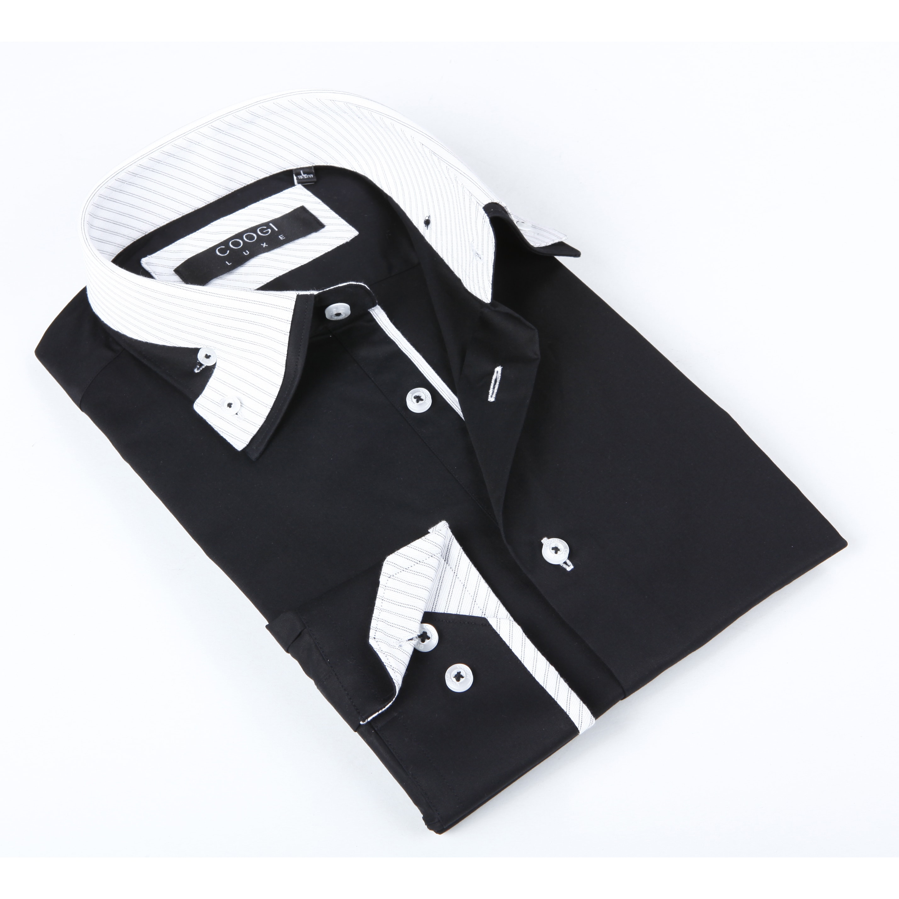 Coogi Luxe Men's Black Shirt With White Striped Collar (L...