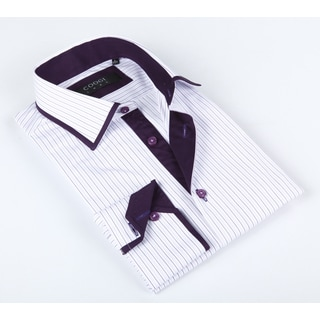 Coogi Luxe Men's White/ Purple Striped Shirt