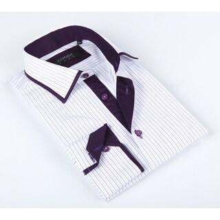 Coogi Luxe Men's White/ Purple Striped Shirt