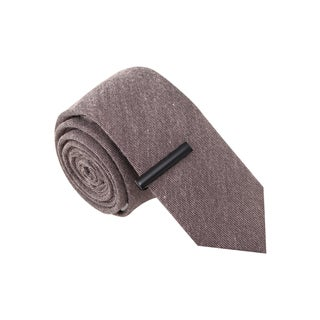 Skinny Tie Madness Men's Choir Boy Grey Skinny Tie with Tie Clip