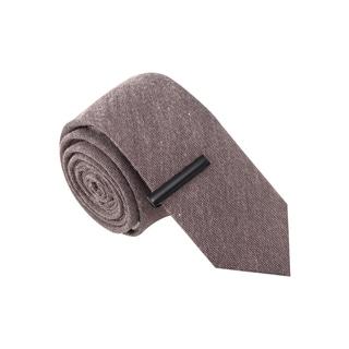 Skinny Tie Madness Men's Choir Boy Grey Skinny Tie with Tie Clip