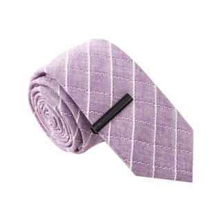 Skinny Tie Madness Men's Vulgar Veronica Purple Skinny Tie with Tie Clip