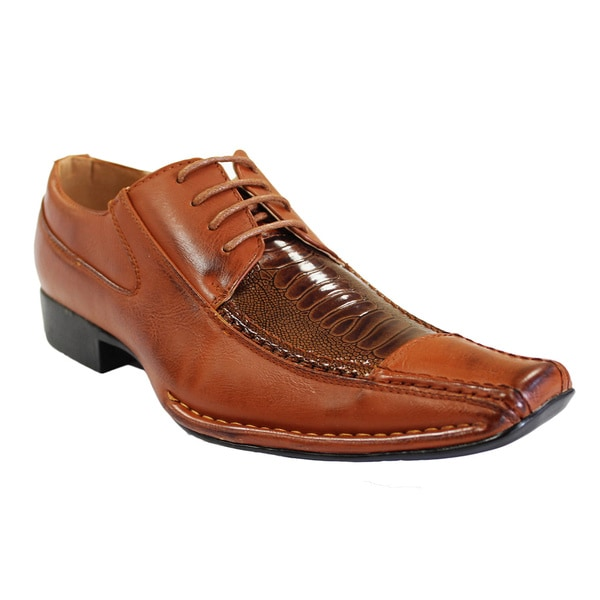 Men's Faux Leather Square-toe Lace-up Dress Shoes - Free Shipping ...