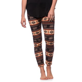 Women's Fleece Lined Pink/ Brown Fair Isle Print Leggings