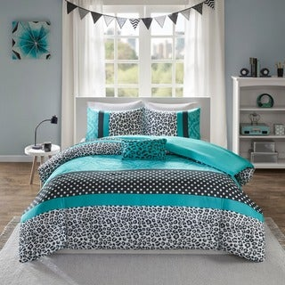 Mi Zone Camille Teal Pieced Animal Print Duvet Cover Set