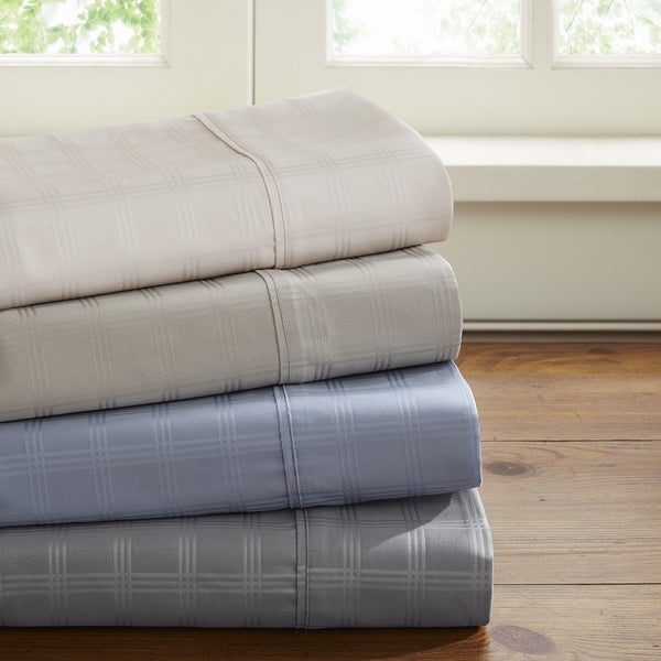 Madison Park Dobby Windowpane 600 Thread Count Wrinkle Free Sheet Set