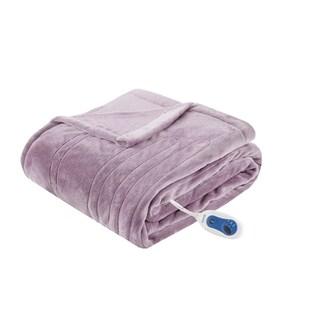 Beautyrest Oversized Plush Heated Throw (Option: Purple)