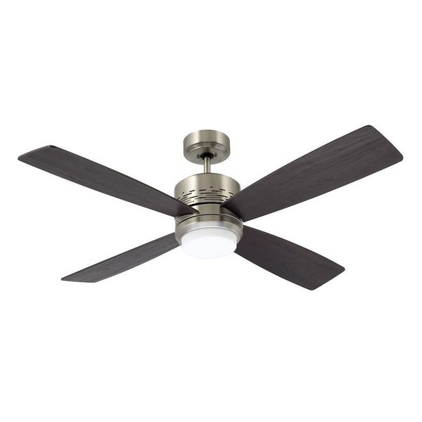 Emerson Highrise 50 Inch Modern Brushed Steel Ceiling Fan With Reversible Blades Silver