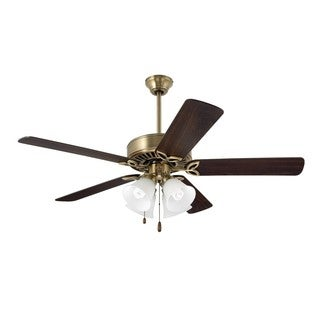 Emerson Pro Series II 50-inch Antique Brass Traditional Ceiling Fan with Reversible Blades - Brown