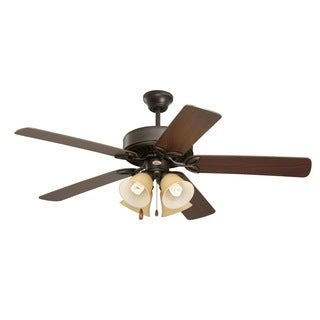 Emerson Pro Series II 50-inch Oil Rubbed Bronze Traditional Ceiling Fan with Amber Scavo Glass and Reversible Blades