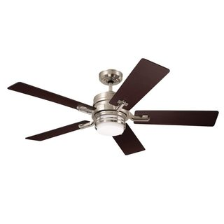 Emerson Amhurst 54-inch Brushed Steel Transitional Ceiling Fan with Reversible Blades - Silver