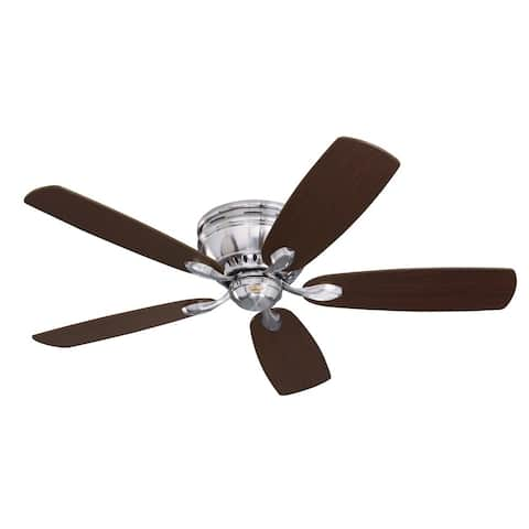 Emerson Prima Snugger 52-inch Brushed Steel Traditional Ceiling Fan with Reversible Blades - Silver