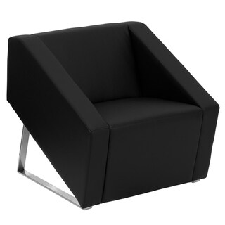 Black LeatherSoft Lounge Chair with Triangular Shaped Base