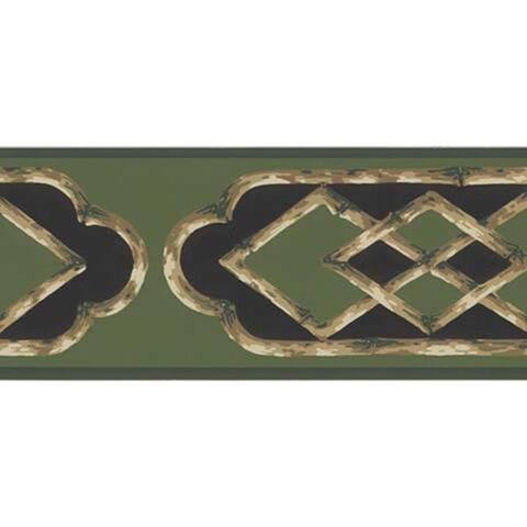 Green Bamboo Frame Wallpaper Border