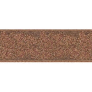 Red Jacobean Floral Wallpaper Border