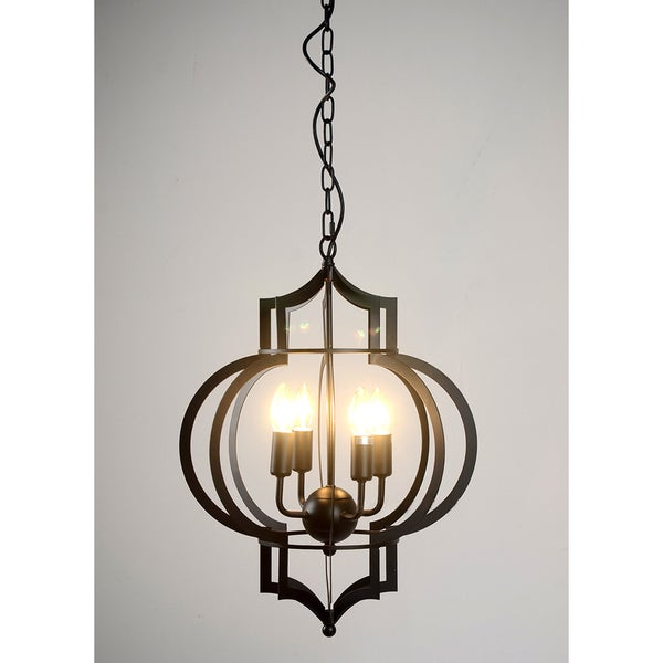 Addison 4 Light Black Finished 17 Inch Chandelier With Bulbs