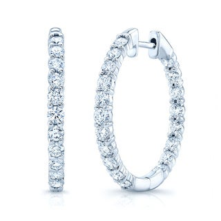 14k Gold 2ct TDW Diamond Hoop Earrings (H-I, VS1-VS2)