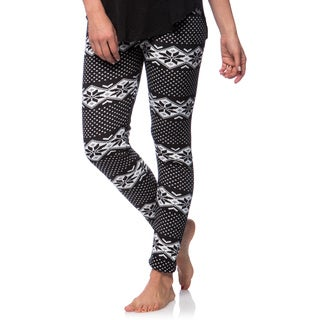 Women's Fleece Lined Black/White Fair Isle Print Leggings