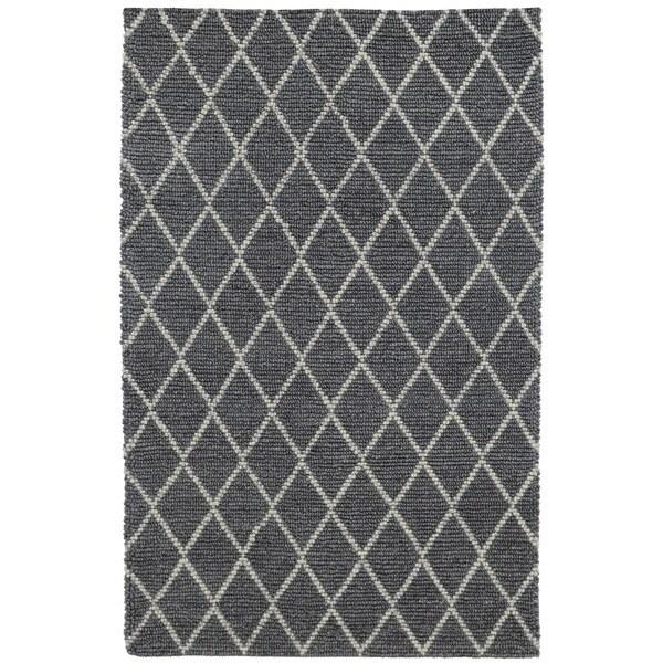 Kosas Home Handwoven Diamond Looped Ivory Wool Rug (5' x 8')