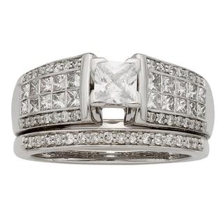 Sofia 14k Gold 1 2/5ct TDW IGL Certified Princess Cut Diamond Bridal Set