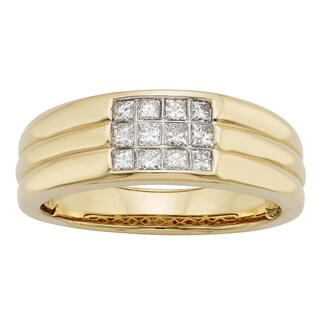Sofia 14k Gold 1/2ct TDW IGL Certified Princess Cut Diamond Gents Ring