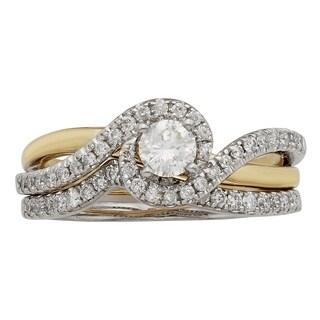 Sofia 14k Gold 3/4ct TDW Certified Princess Cut Diamond Bridal Set (H-I, I1-I2)