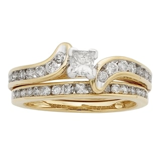 Sofia 14k Gold 1ct TDW IGL Certified Princess Cut Diamond Bridal Set