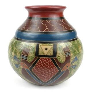 Handmade 7-inch Tall Vase - Abstract Design (Nicaragua)