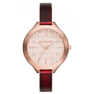 Michael Kors Women's Slim Runway White Designed Dial Red Acetate Bracelet Watch MK4310