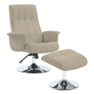 Portfolio Deane Barley Tan Linen Chair and Ottoman